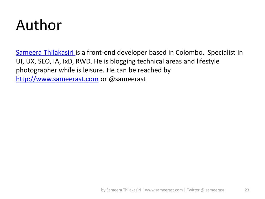 Author Sameera Thilakasiri is a front-end devel...