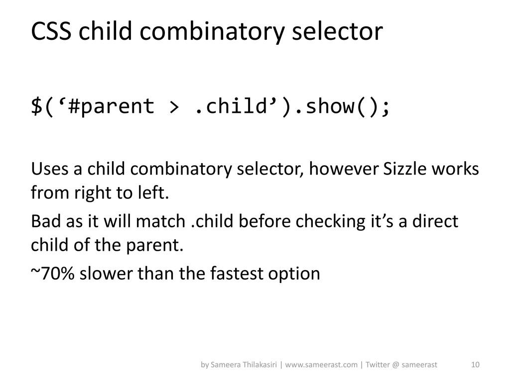 CSS child combinatory selector $('#parent > .ch...