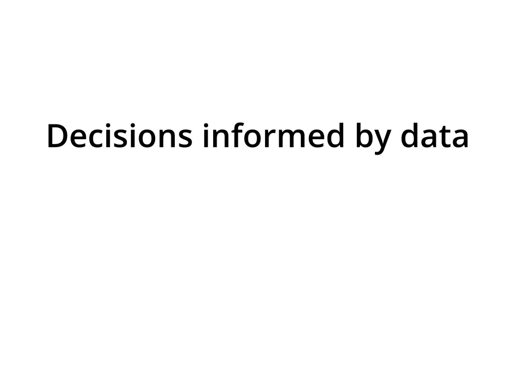Decisions informed by data