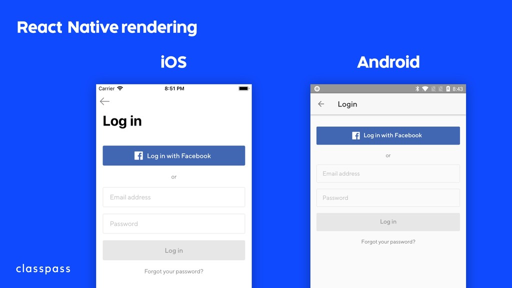 React Native rendering iOS Android