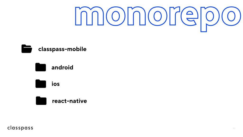 30 monorepo classpass-mobile android ios react-...