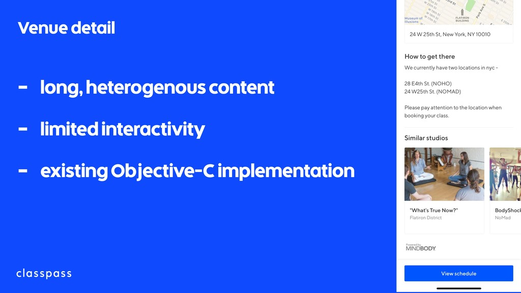 Venue detail - long, heterogenous content - lim...