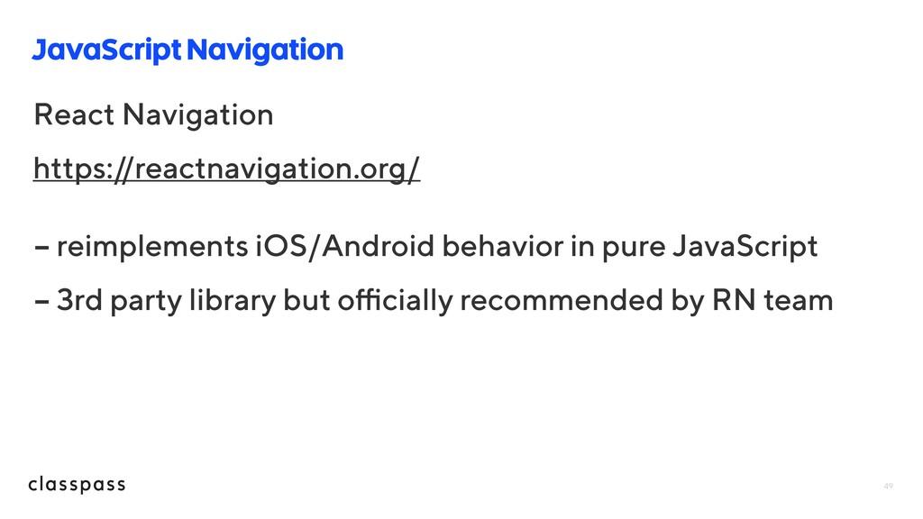 JavaScript Navigation 49 React Navigation https...