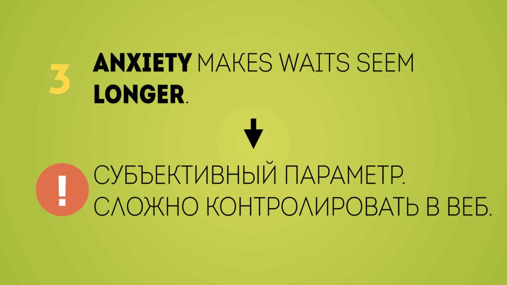 Anxiety makes waits seem longer. 3 Субъективный...
