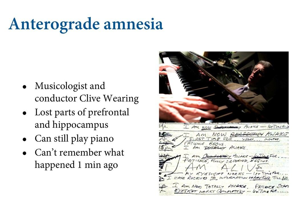 Anterograde amnesia • Musicologist and conducto...