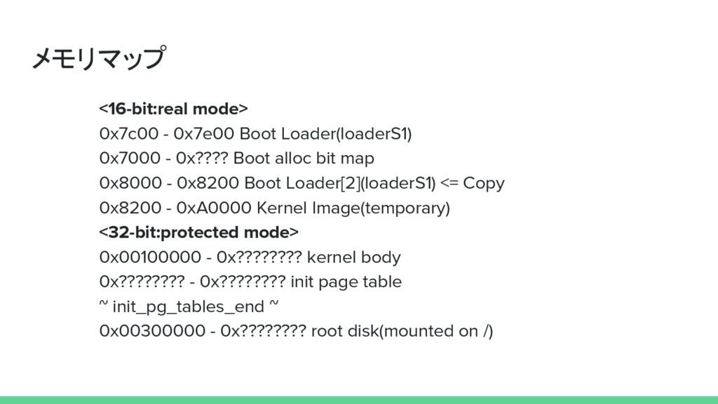メモリマップ <16-bit:real mode> 0x7c00 - 0x7e00 Boot ...