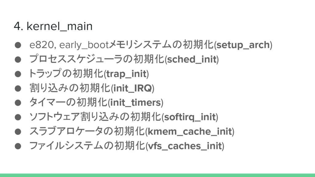 4. kernel_main ● e820, early_bootメモリシステムの初期化(se...