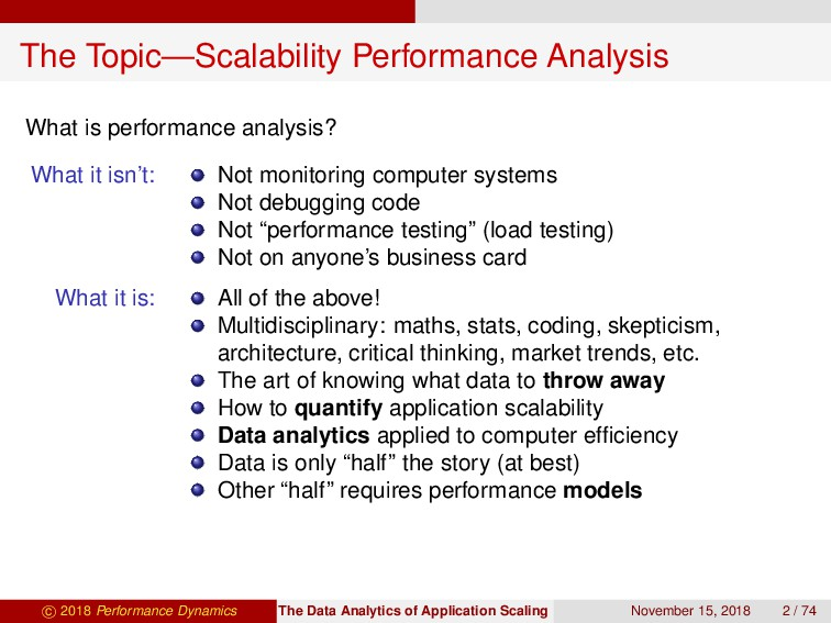 The Topic—Scalability Performance Analysis What...