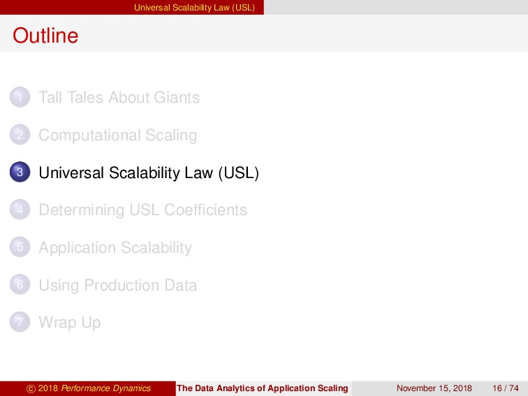 Universal Scalability Law (USL) Outline 1 Tall ...