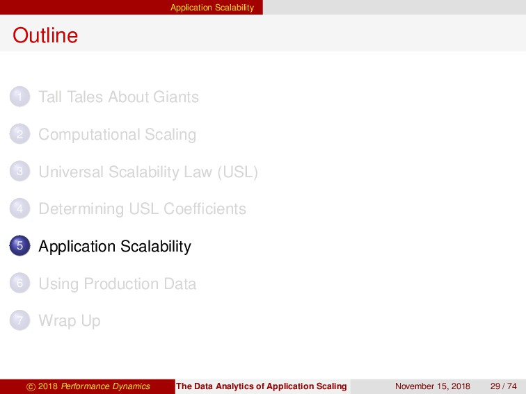 Application Scalability Outline 1 Tall Tales Ab...