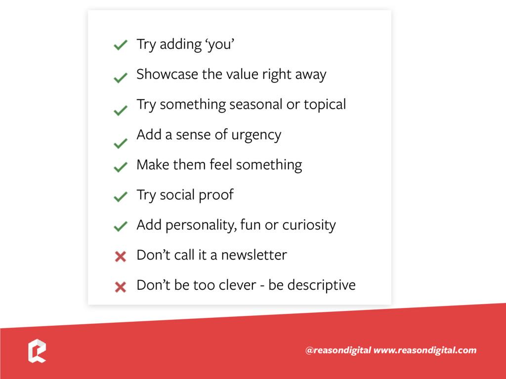 www.reasondigital.com @reasondigital Try adding...