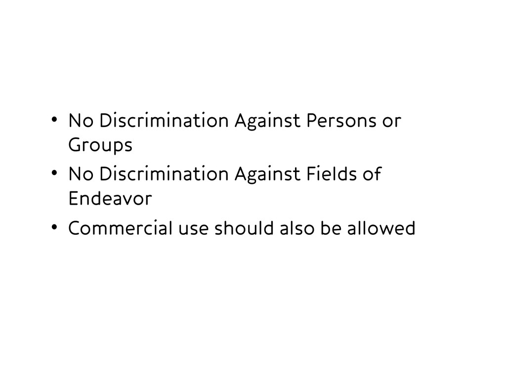 • No Discrimination Against Persons or Groups...