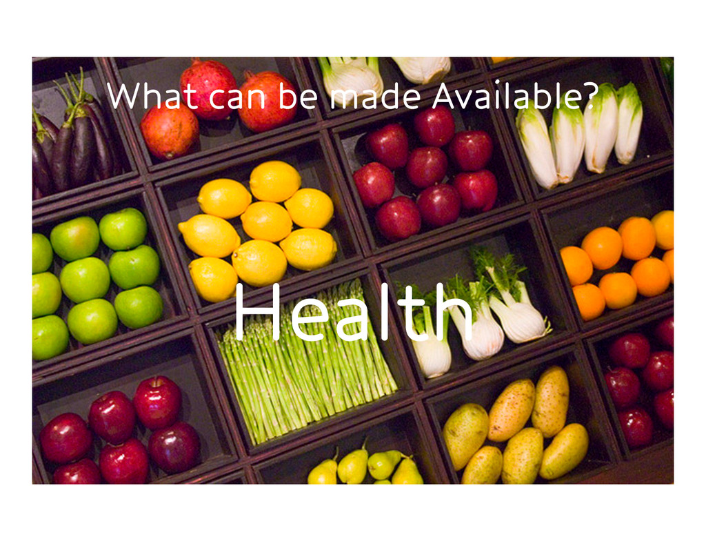 What can be made Available? Health