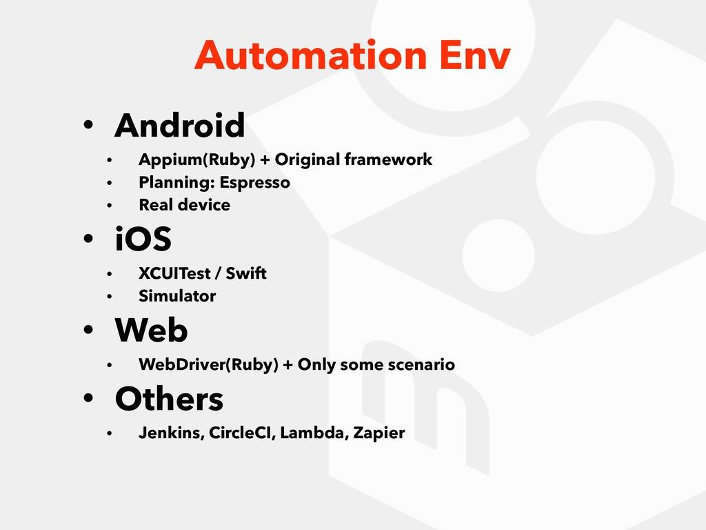 • Android • Appium(Ruby) + Original framework •...