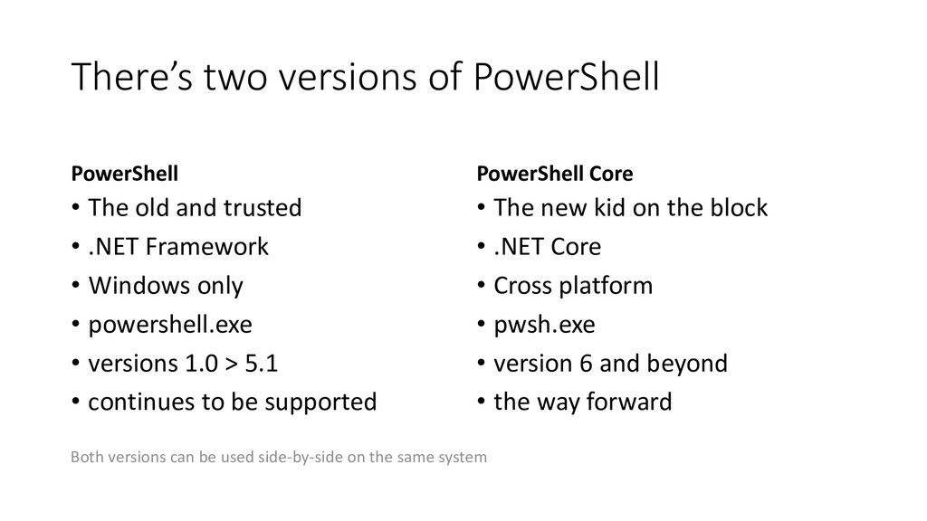There's two versions of PowerShell PowerShell •...