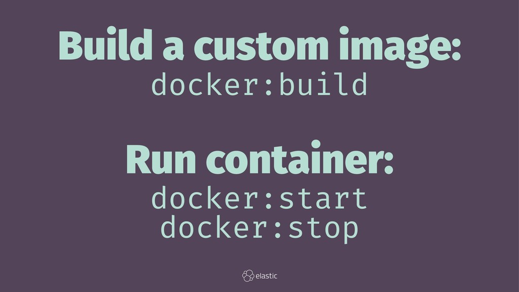 Build a custom image: docker:build Run containe...