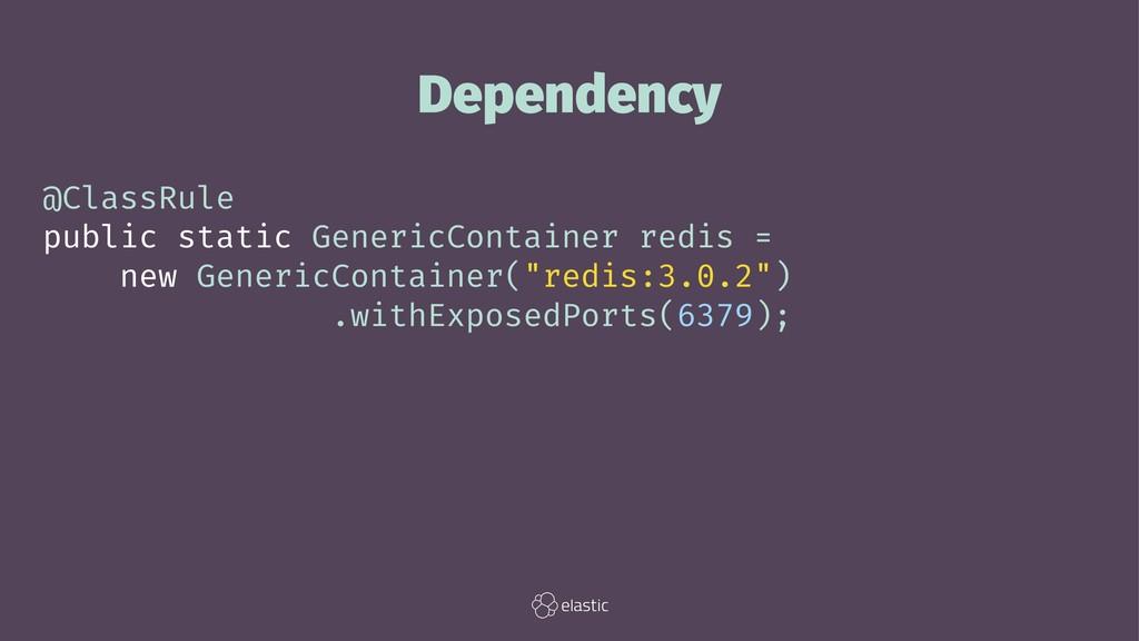 Dependency @ClassRule public static GenericCont...