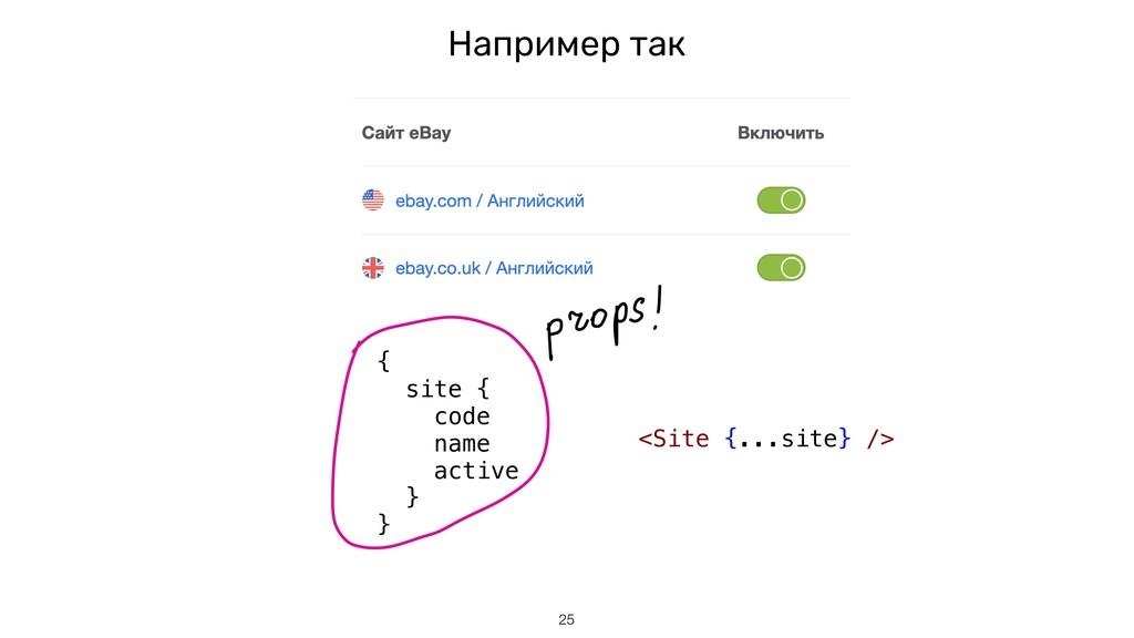 Например так !25 { site { code name active } } ...