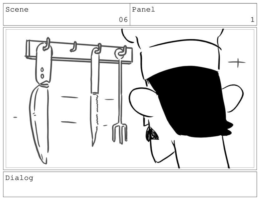 Scene 06 Panel 2 Dialog BOSS: You're late again.