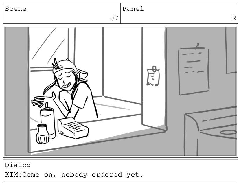 Scene 07 Panel 3 Dialog KIM:It's fine.