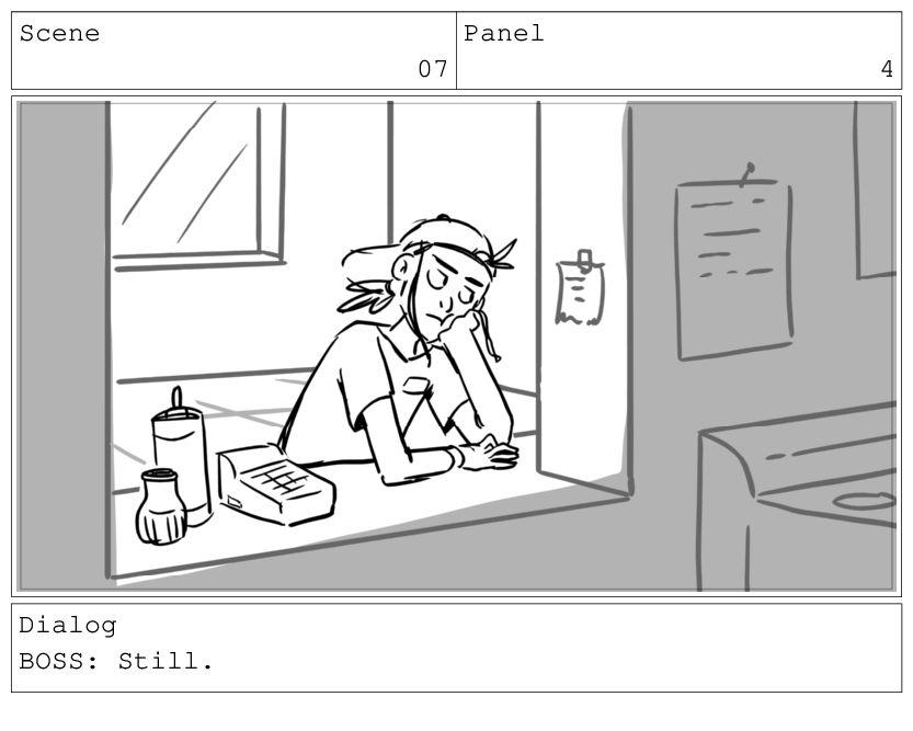 Scene 07 Panel 5 Dialog BOSS: Still.