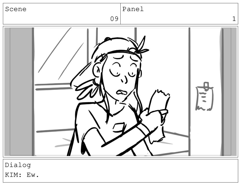 Scene 09 Panel 1 Dialog KIM: Ew.