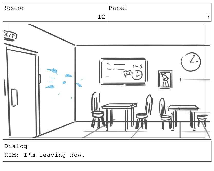 Scene 12 Panel 7 Dialog KIM: I'm leaving now.