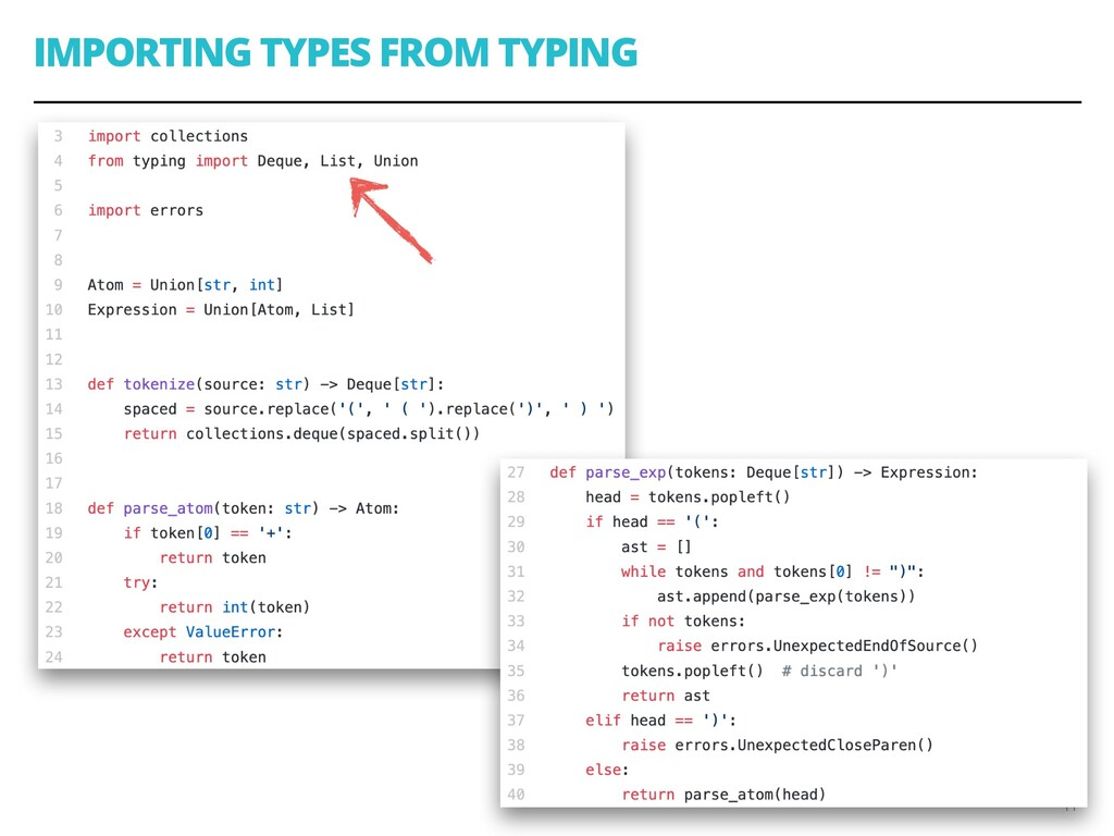 IMPORTING TYPES FROM TYPING 11