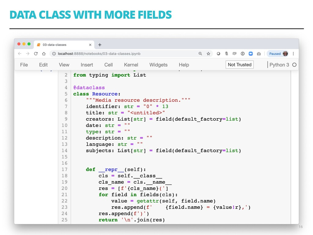 DATA CLASS WITH MORE FIELDS 16