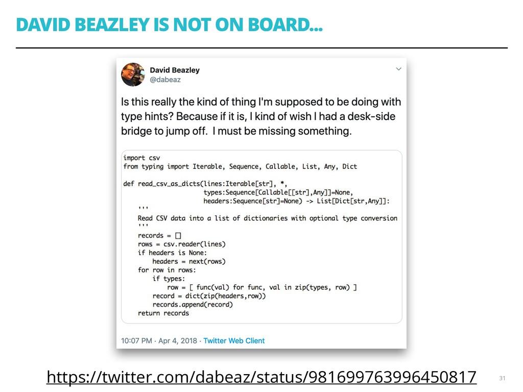 DAVID BEAZLEY IS NOT ON BOARD... https://twitte...