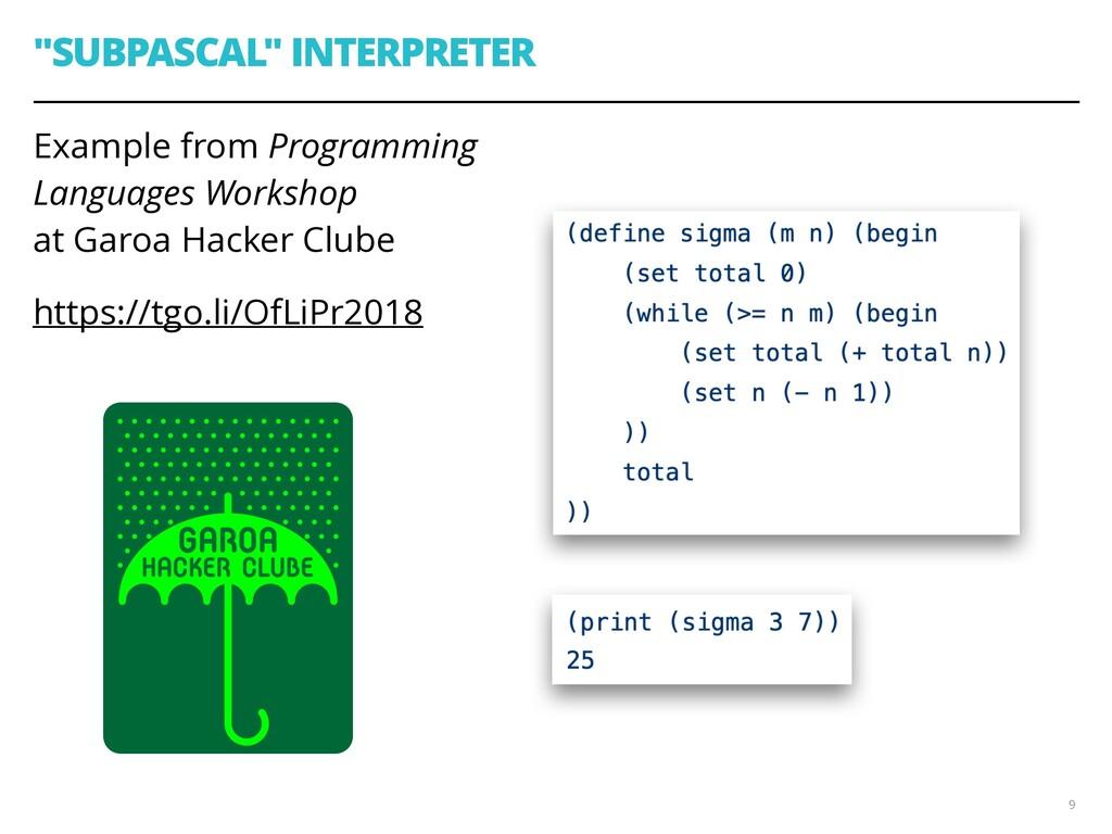 """SUBPASCAL"" INTERPRETER Example from Programmin..."