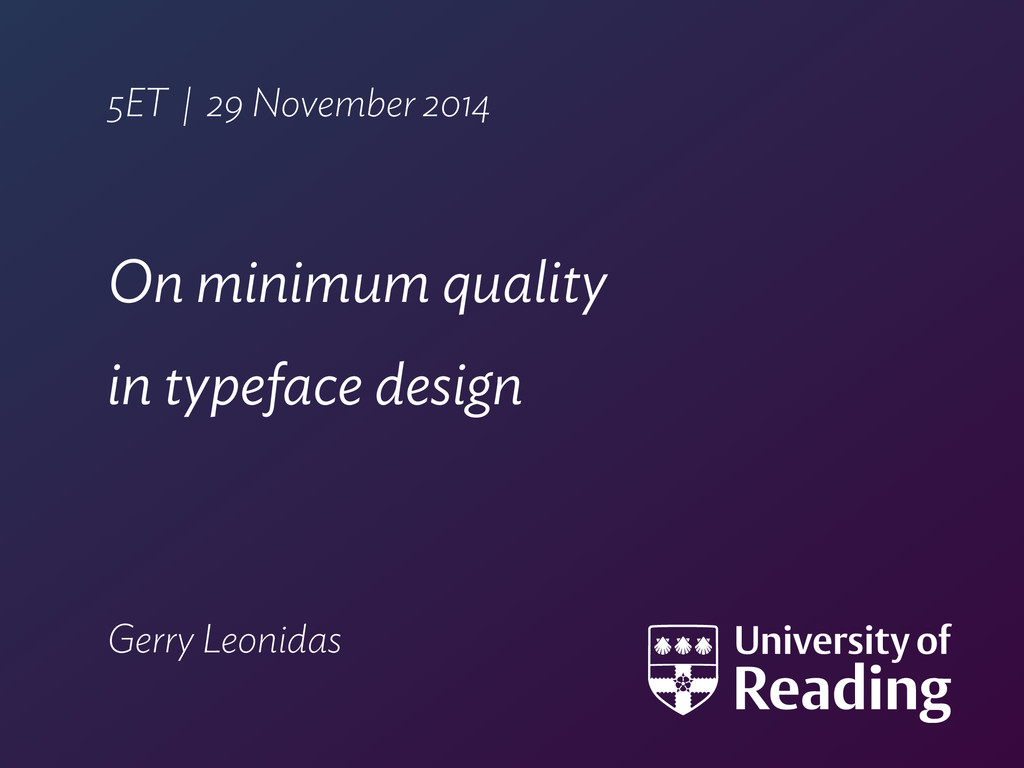 5ET | 29 November 2014 On minimum quality  in ...