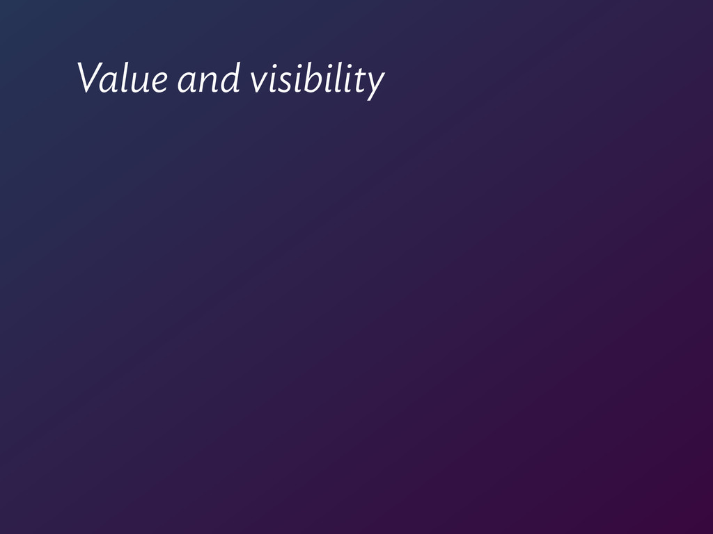 Value and visibility