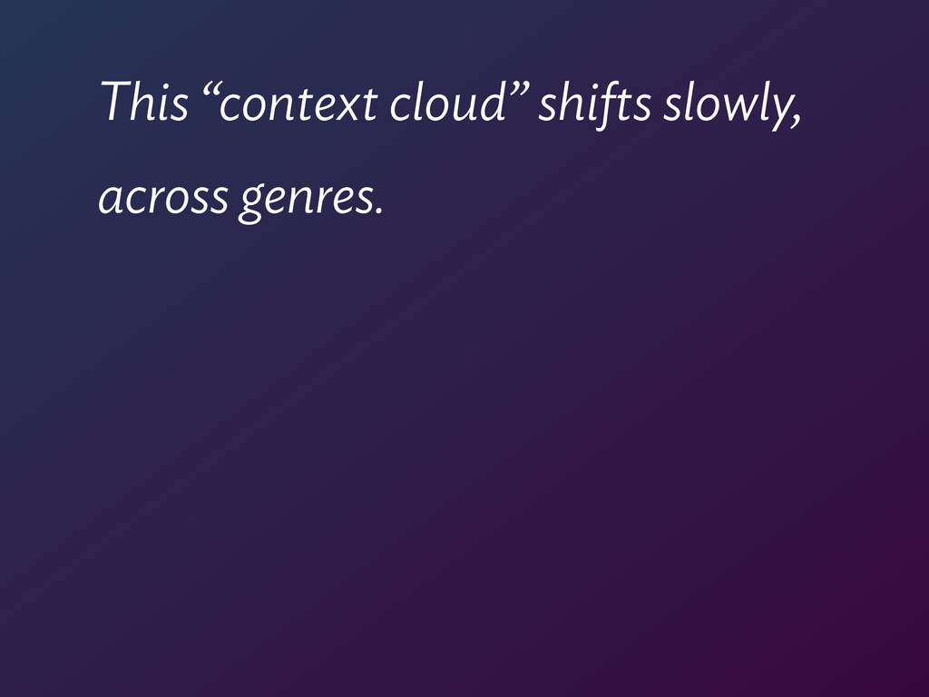 """This """"context cloud"""" shifts slowly, across genr..."""