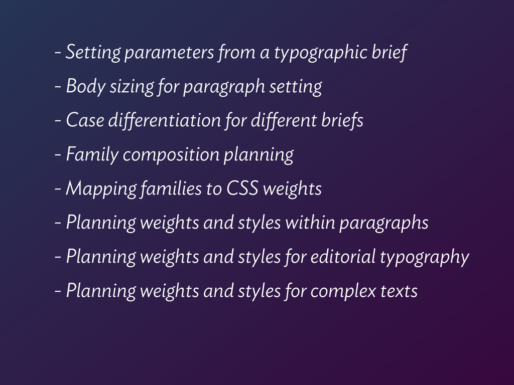 - Setting parameters from a typographic brief -...