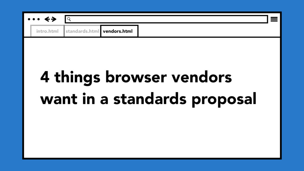 intro.html standards.html 4 things browser vend...