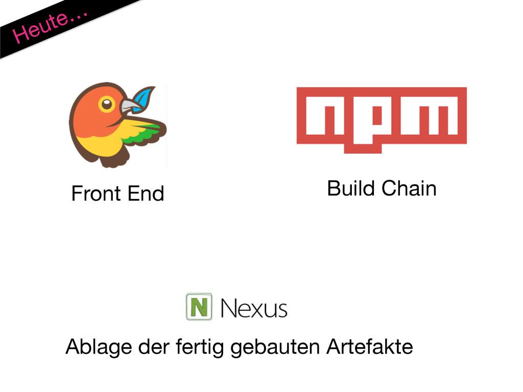 Heute… Front End Build Chain Ablage der fertig ...
