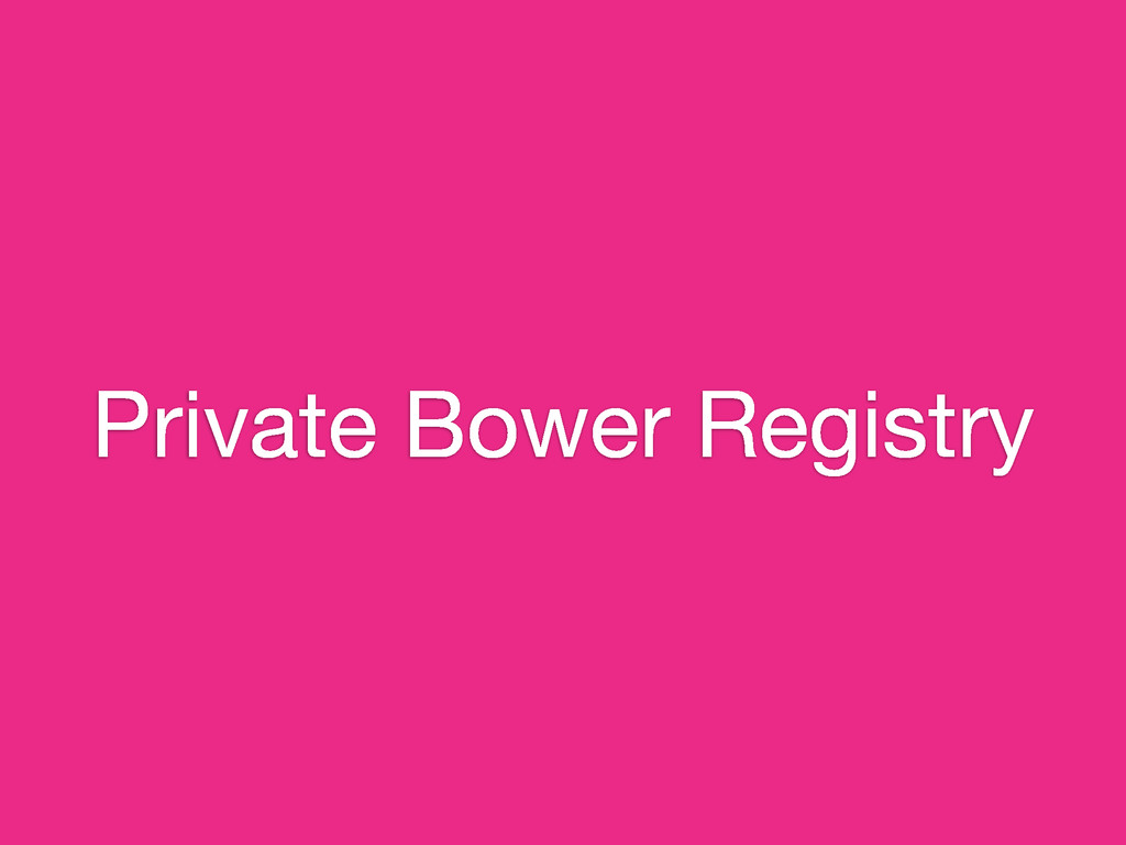 Private Bower Registry
