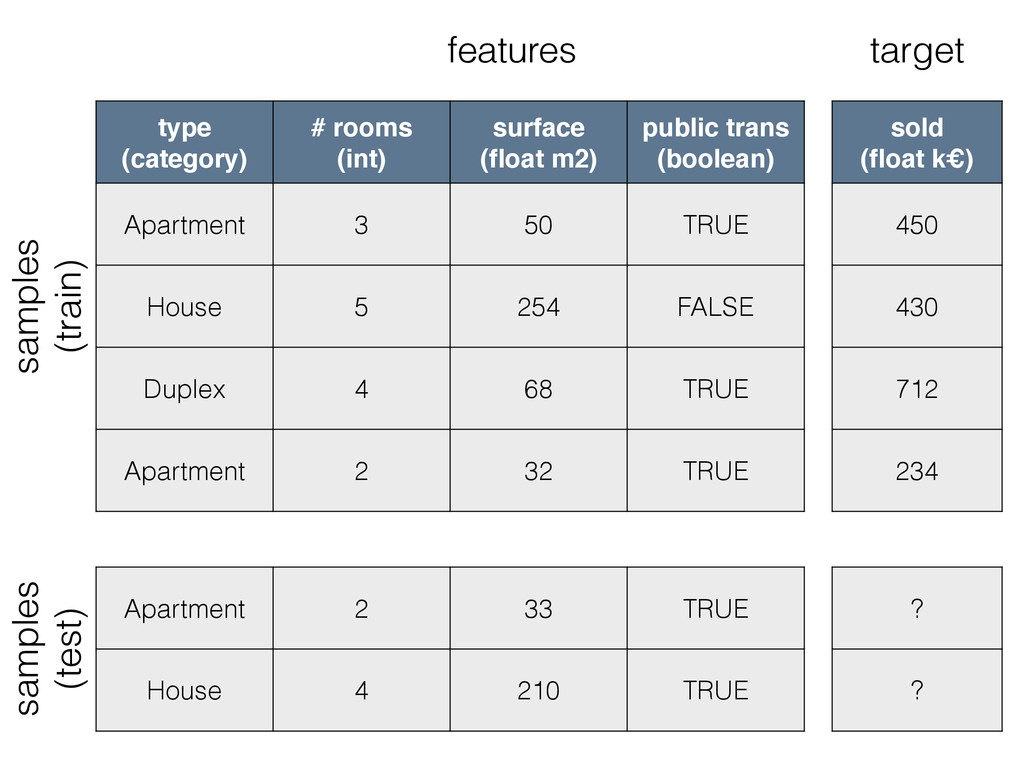 type (category) # rooms (int) surface (float m2)...