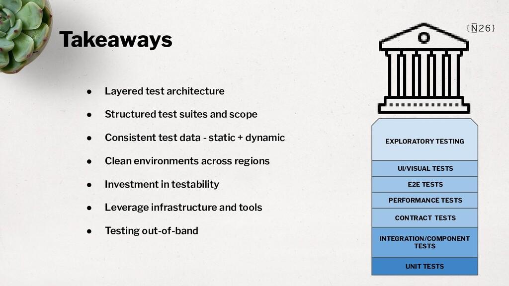 Takeaways ● Layered test architecture ● Structu...
