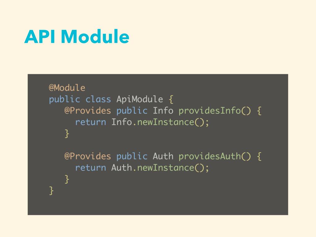 API Module @Module public class ApiModule { @Pr...