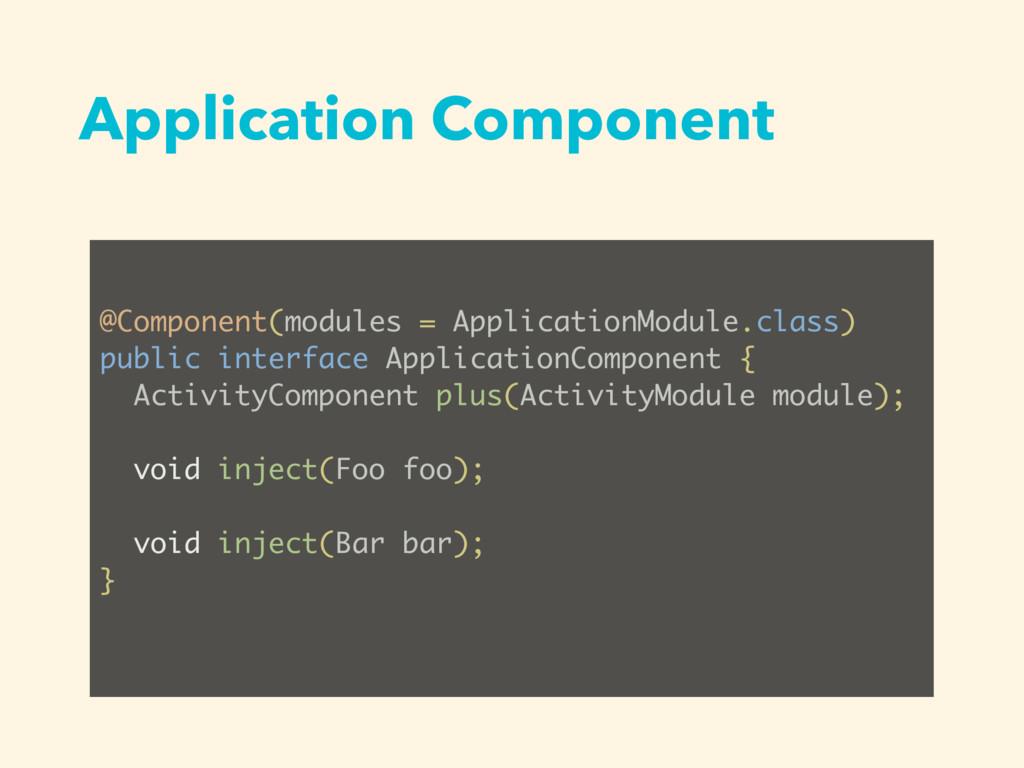 Application Component @Component(modules = Appl...