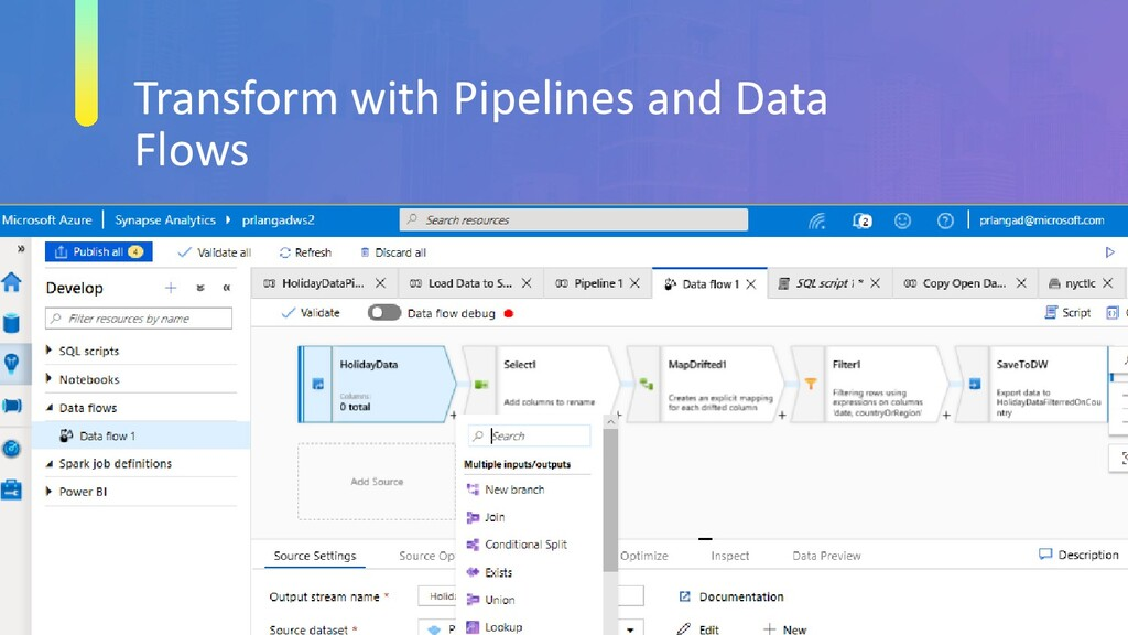 Transform with Pipelines and Data Flows