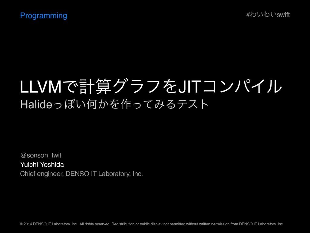 HalideͬΆ͍Կ͔Λ࡞ͬͯΈΔςετ Programming Yuichi Yoshida...