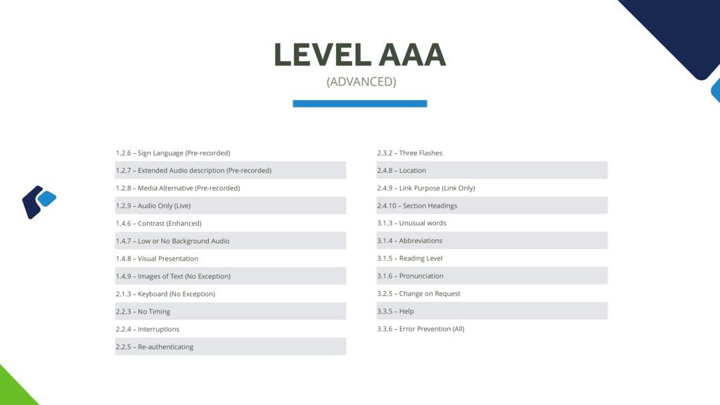 (ADVANCED) LEVEL AAA 1.2.6 – Sign Language (Pre...