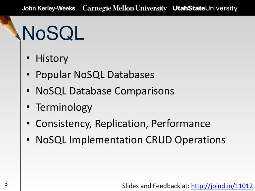 NoSQL • History • Popular NoSQL Databases • NoS...