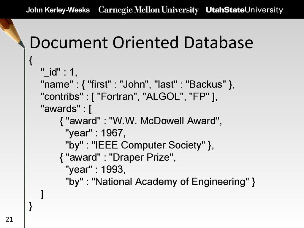 """Document Oriented Database 21 { """"_id"""" : 1, """"nam..."""