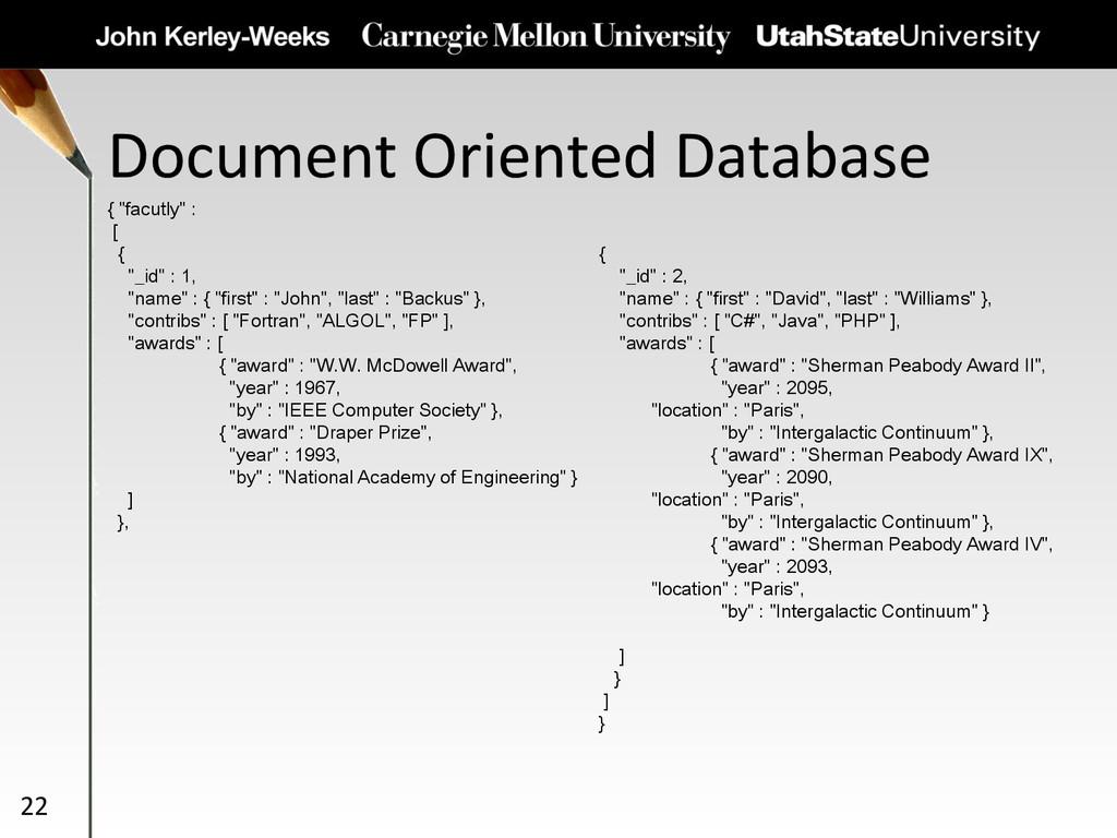 "Document Oriented Database 22 { ""facutly"" : [ {..."