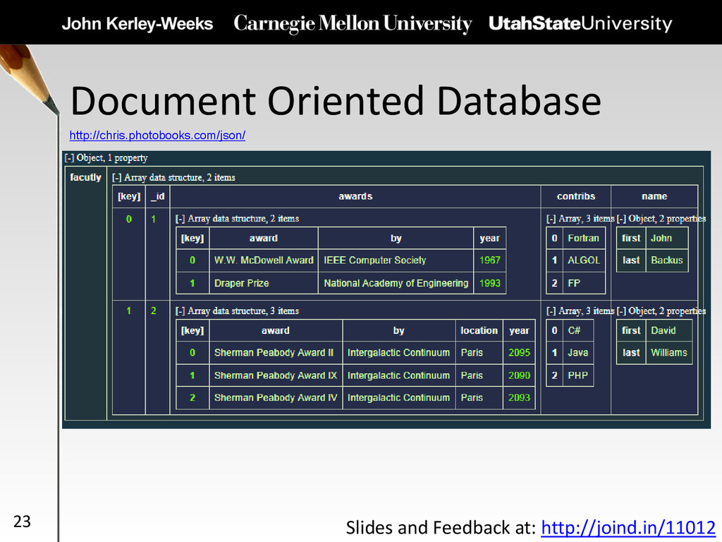 Document Oriented Database 23 http://chris.phot...