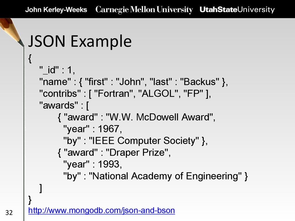 """JSON Example 32 { """"_id"""" : 1, """"name"""" : { """"first""""..."""